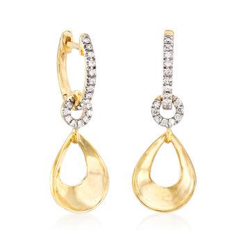 """.14 ct. t.w. Diamond Drop Hoop Earrings in 14kt Yellow Gold. 7/8"""""""