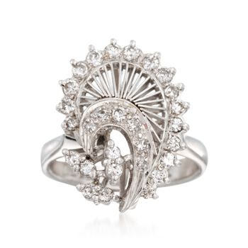 C. 1990 Vintage .50 ct. t.w. Diamond Curve Ring in 14kt White Gold. Size 5, , default