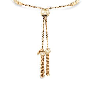 Italian 18kt Yellow Gold Over Sterling Silver Beaded Bolo Bracelet