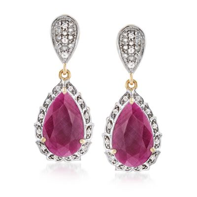 12.00 ct. t.w. Ruby and .29 ct. t.w. White Topaz Drop Earrings in 18kt Gold Over Sterling