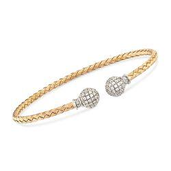 "Charles Garnier ""Luna"" 1.50 ct. t.w. CZ Bead Cuff Bracelet in Two-Tone Sterling Silver. 7"", , default"