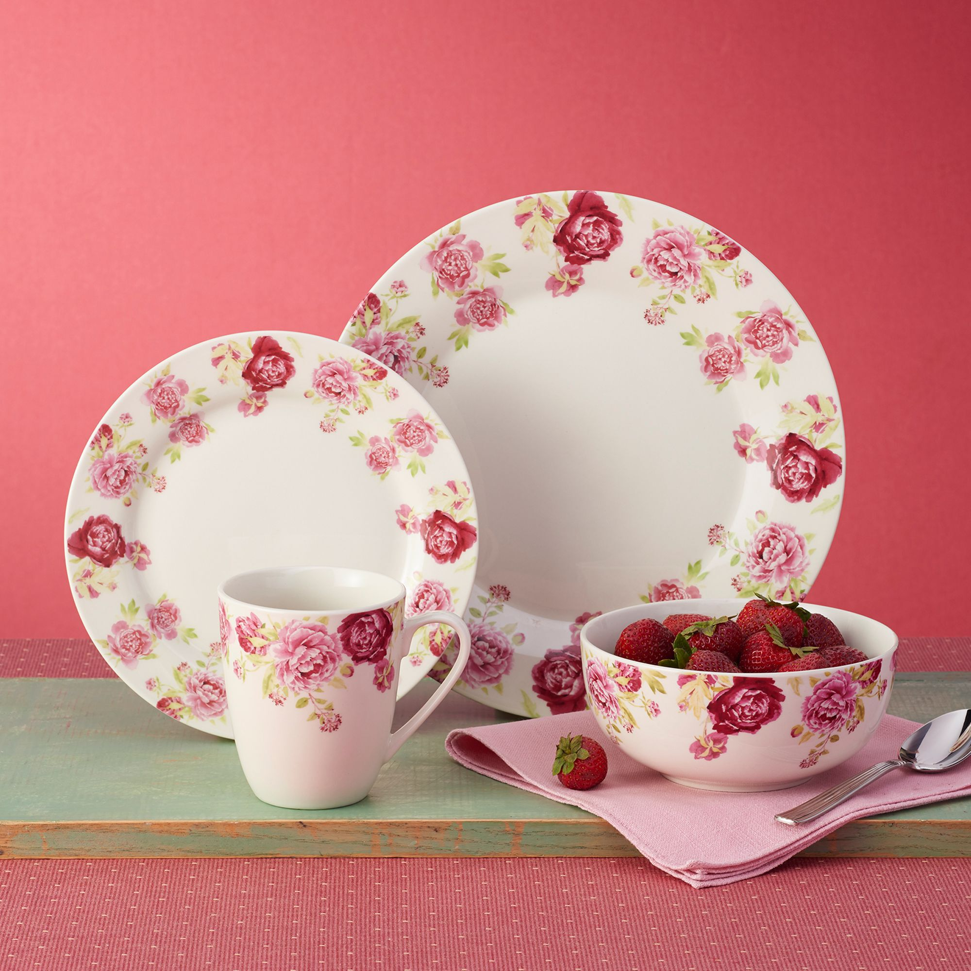 Service for 4 \u0026quot;Blossoming Rose\u0026quot; Porcelain Dinnerware by Kathy & Clearance China and Dinnerware