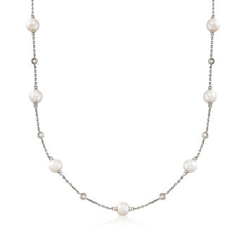"6-6.5mm Cultured Pearl and .30 ct. t.w. Bezel-Set Diamond Station Necklace in Sterling Silver. 16"", , default"