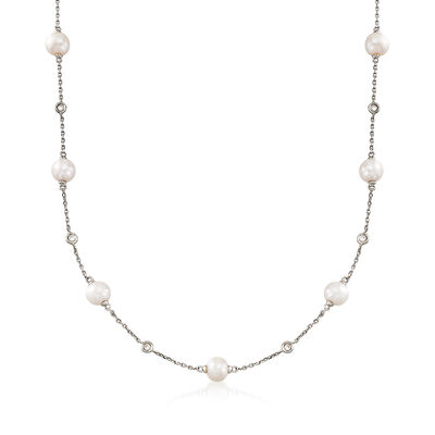 6-6.5mm Cultured Pearl and .30 ct. t.w. Bezel-Set Diamond Station Necklace in Sterling Silver, , default