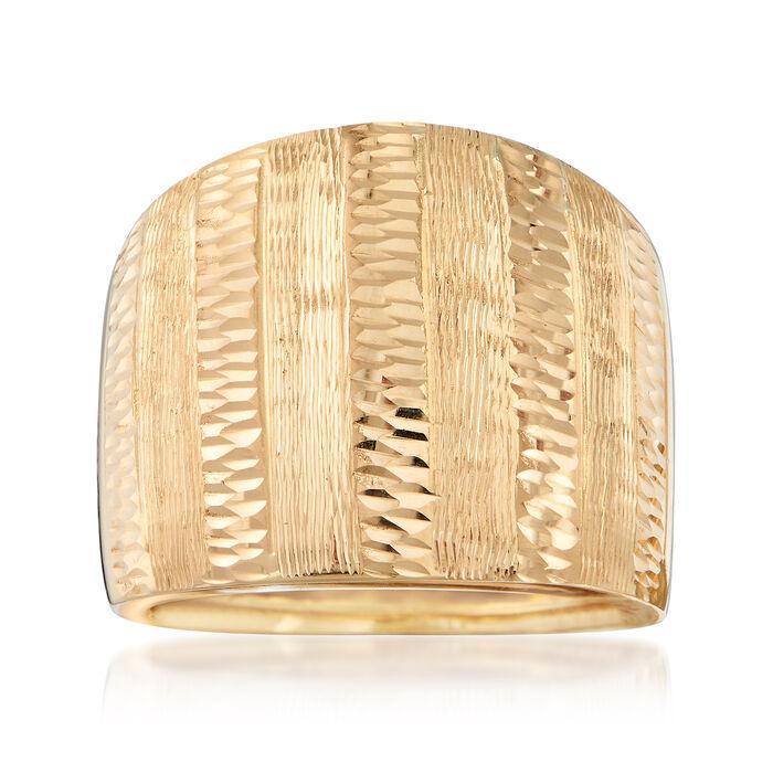 Italian 18kt Yellow Gold Diamond-Cut Ring. Size 5