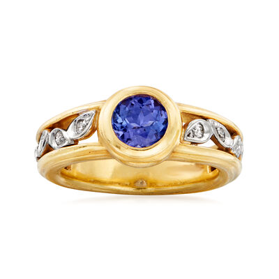 C. 1980 Vintage Seidengang .80 ct. t.w. Tanzanite and .15 ct. t.w. Diamond Ring in 18kt Two-Tone Gold