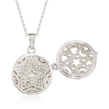".60 ct. t.w. White Zircon Star Locket Necklace in 14kt Yellow Gold and Sterling Silver. 18"", , default"