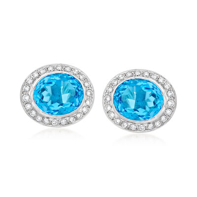 C. 1980 Vintage 12.00 ct. t.w. Blue Topaz and 1.10 ct. t.w. Diamond Earrings in Platinum, , default