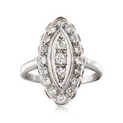C. 1950 Vintage .50 ct. t.w. Diamond Navette Ring in Platinum. Size 8.5, , default