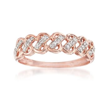 14kt Rose Gold Woven-Look Ring With Diamond Accents, , default