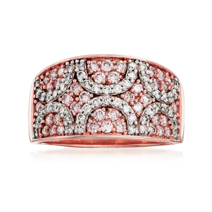 1.04 ct. t.w. White and Pink Diamond Ring in 18kt Rose Gold