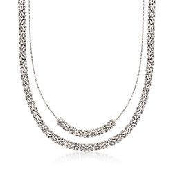 "Sterling Silver Double-Layer Byzantine Necklace. 18"", , default"