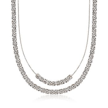 """Sterling Silver Double-Layer Byzantine Necklace. 18"""", , default"""