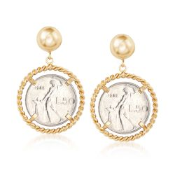 Italian Genuine 50-Lira Coin Drop Earrings in 18kt Gold Over Sterling, , default