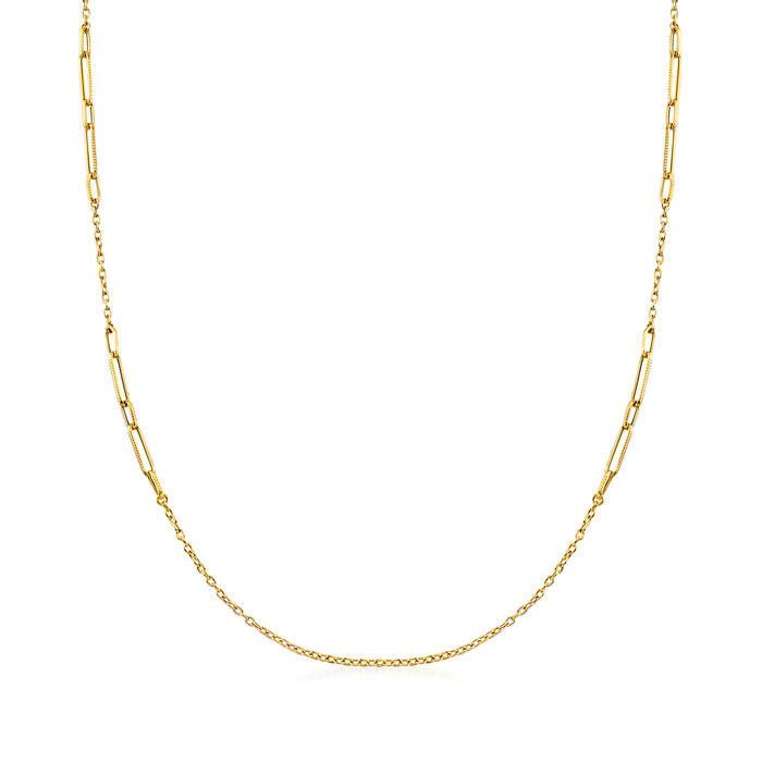 Italian Mixed-Link Chain Necklace in 18kt Yellow Gold, , default