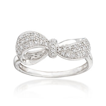 .13 ct. t.w. Pave Diamond Bow Ring in Sterling Silver, , default