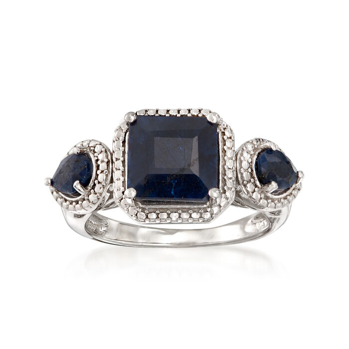 3.40 ct. t.w. Sapphire Ring in Sterling Silver