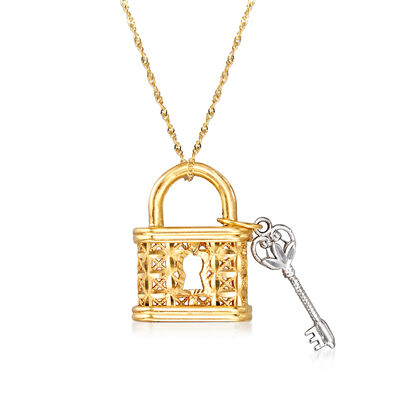 14kt Yellow Gold Lock and Key Pendant Necklace with White Rhodium