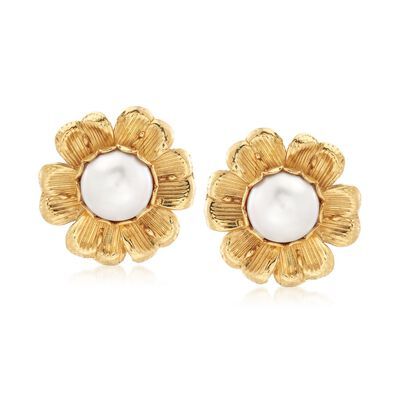 C. 1980 Vintage Mother-Of-Pearl Flower Earrings in 18kt Yellow Gold, , default