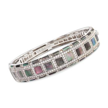 """Belle Etoile """"Regal"""" Black Mother-Of Pearl and 3.00 ct. t.w. CZ Bangle Bracelet in Sterling Silver. 7"""", , default"""