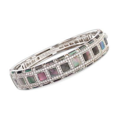 "Belle Etoile ""Regal"" Black Mother-Of Pearl and 3.00 ct. t.w. CZ Bangle Bracelet in Sterling Silver, , default"