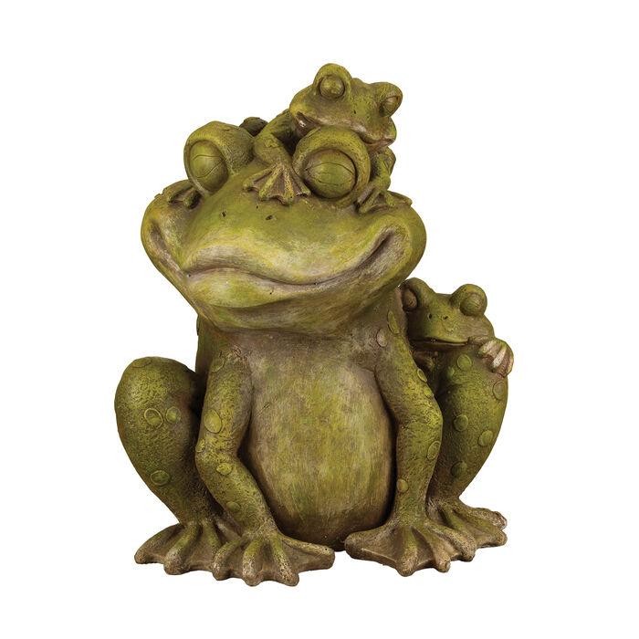 Regal Mother and Baby Frog Outdoor Garden Statue, , default
