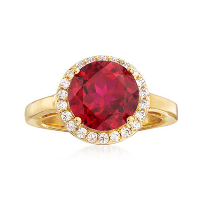 3.40 Carat Simulated Ruby and .33 ct. t.w. CZ Ring in 18kt Gold Over Sterling