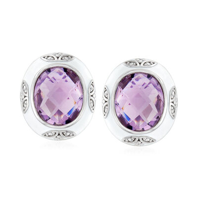7.70 ct. t.w. Amethyst, .10 ct. t.w. White Topaz  and White Enamel Earrings in Sterling Silver