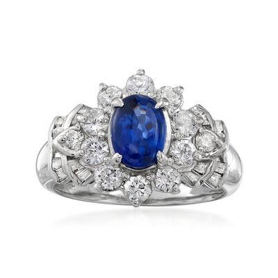C. 1990 Vintage 1.32 Carat Sapphire and 1.02 ct. t.w. Diamond Ring in Platinum