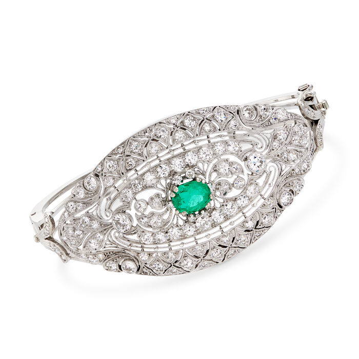 "3.25 ct. t.w. Diamond and 1.05 Carat Emerald Filigree Bangle Bracelet in 18kt White Gold. 7"", , default"