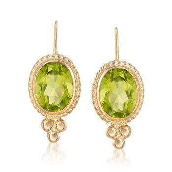 2.70 ct. t.w. Peridot Rope Edge Earrings in 14kt Yellow Gold, , default