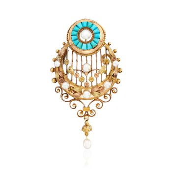 C. 1960 Vintage Turquoise and 3-5mm Cultured Pearl Pin Pendant in 18kt Tri-Tone Gold, , default