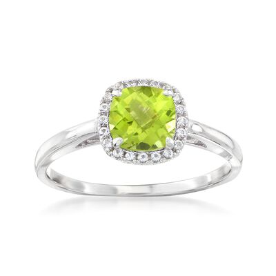 1.00 Carat Peridot and .10 ct. t.w. White Topaz Ring Sterling Silver, , default