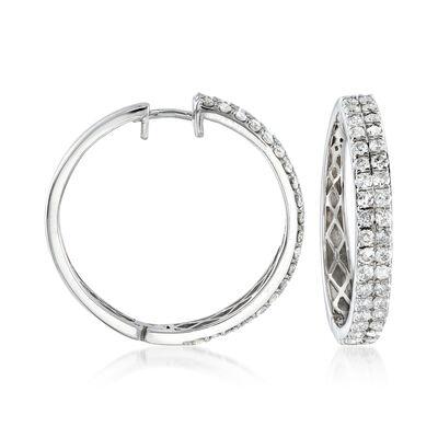 2.00 ct. t.w. Diamond Two-Row Hoop Earrings in 14kt White Gold, , default
