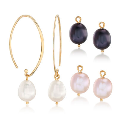 Cultured Pearl Interchangeable Wire Drop Earrings in 14kt Yellow Gold, , default