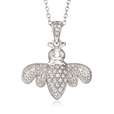 .40 ct. t.w. White Topaz Bee Pendant Necklace in Sterling Silver