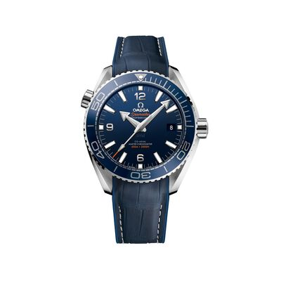 Omega Seamaster Planet Ocean Men's 43.5mm Stainless Steel Watch with Blue Dial and Leather Strap