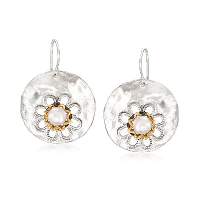 6.5-7mm Cultured Pearl Floral Disc Drop Earrings in Sterling Silver with 14kt Yellow Gold, , default