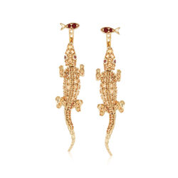 .19 ct. t.w. Garnet and 1.50 ct. t.w. Citrine Fish and Lizard Front-Back Earrings in 18kt Gold Over Sterling, , default