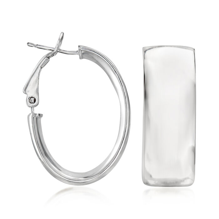 Italian Sterling Silver Oval Hoop Earrings