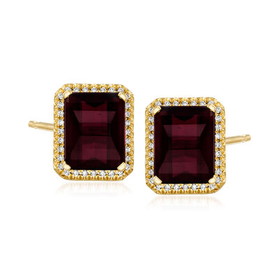 C. 2000 Vintage 6.36 ct. t.w. Garnet and .15 ct. t.w. Diamond Earrings in 14kt Yellow Gold
