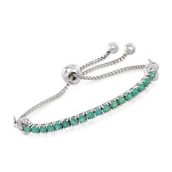 1.70 ct. t.w. Emerald and White Zircon-Accented Bolo Bracelet in Sterling Silver, , default