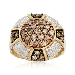 C. 1990 Vintage 1.55 ct. t.w. Champagne Diamond Dome Ring in 10kt Yellow Gold, , default