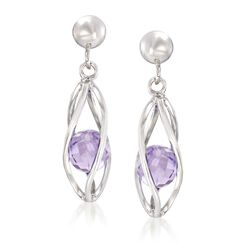 1.70 ct. t.w. Amethyst Caged Drop Earrings in Sterling Silver , , default