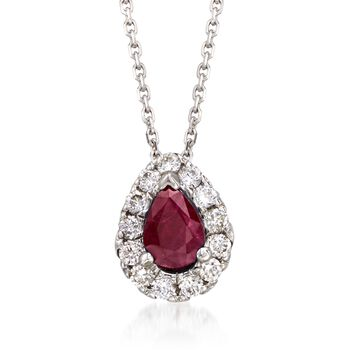 """.80 Carat Ruby and .40 ct. t.w. Diamond Necklace in 14kt White Gold. 16"""", , default"""