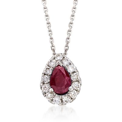 .80 Carat Ruby and .40 ct. t.w. Diamond Necklace in 14kt White Gold, , default