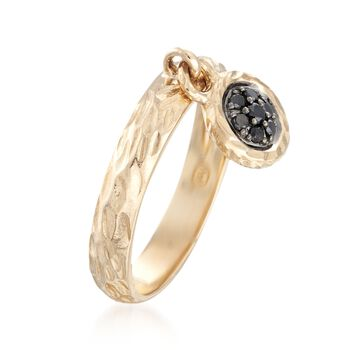 .20 ct. t.w. Black and White Diamond Circle Charm Ring in 14kt Yellow Gold. Size 5, , default