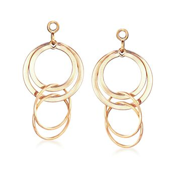14kt Yellow Gold Multi-Circle Dangle Earring Jackets , , default