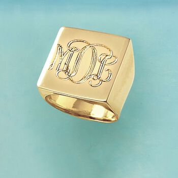 Italian Square Flat-Top Monogram Ring in 14kt Yellow Gold, , default