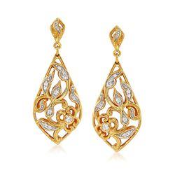 """Belle Etoile """"Empress"""" .16 ct. t.w. CZ Drop Earrings in 24kt Gold Over Sterling, , default"""